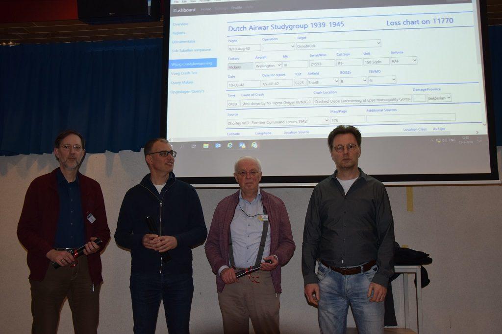 Peter Grimm, Erwin van Loo en Jaap Woortman zijn drie van de nieuwe beheerders die het stokje van Bas Maathuis overnemen (@Huub van Sabben - Studiegroep Luchtoorlog 1939-1945)
